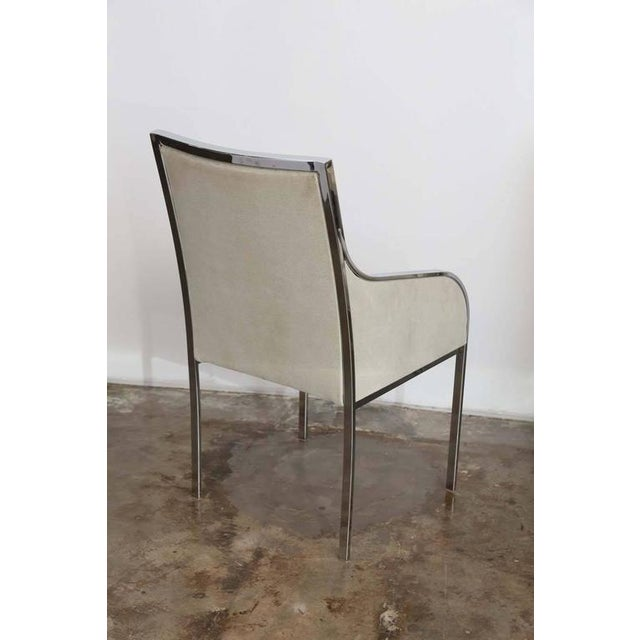 S/6 Mid Century Modern Chrome and Upholstery Pierre Cardin Dining Chairs / Side Chairs - Image 4 of 12