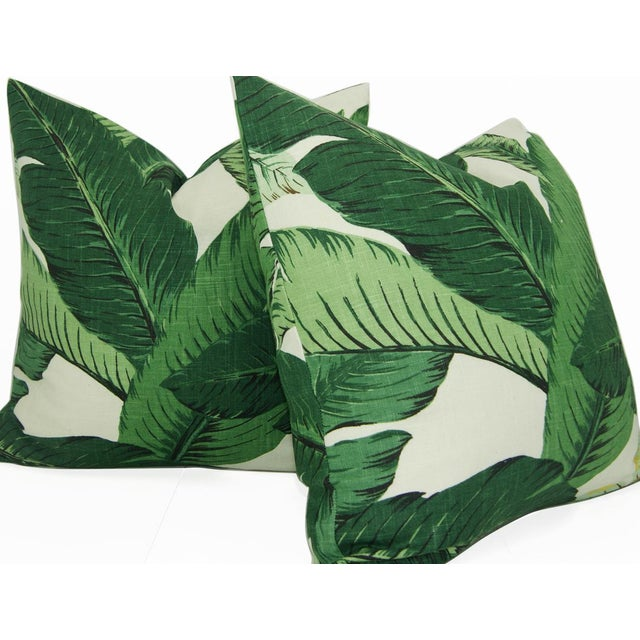 Contemporary Swaying Palms Green Linen Pillow Cover For Sale - Image 3 of 5