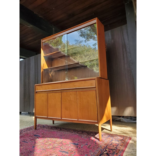 Boho Chic Drexel Mid-Century Modern Parallel China Cabinet For Sale - Image 3 of 13