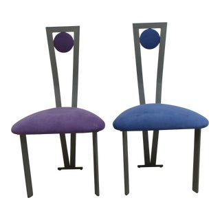 Vintage Post Modern Wrought Iron Bistro Chairs- a Pair For Sale
