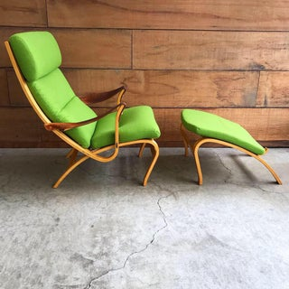 Danish Lounge Chair & Ottoman in Green Wool Preview
