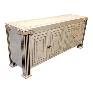 80s Postmodern Tessellated Stone Credenza With Ionic Column Corners and Brass Accents For Sale