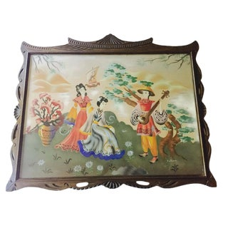 Mid-Century Chinoiserie Wood Framed Print For Sale