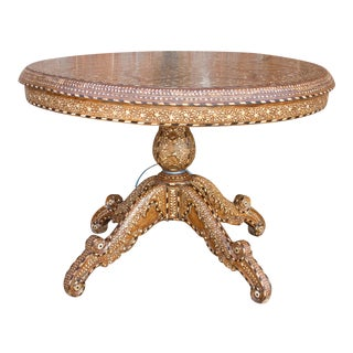 Round Pedestal Base Bone Inlay Table For Sale