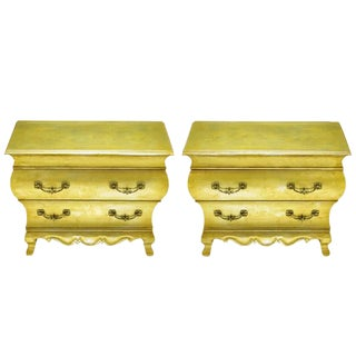 Pair of Henredon Gold Toned Silver Leaf Bombe Two-Drawer Commodes For Sale