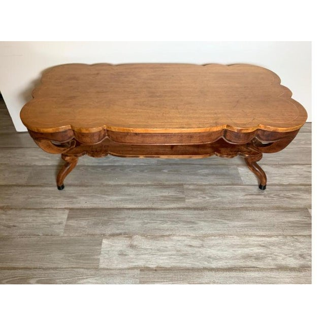 1940s Rustic Distressed Finish Inlaid Mahogany Coffee Table For Sale - Image 4 of 13