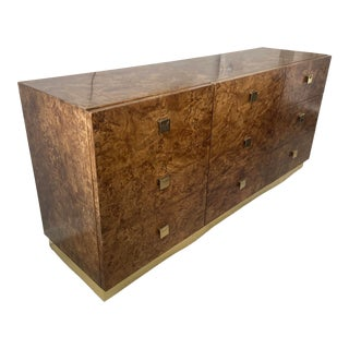 1960s Vintage Milo Baughman for Founders Olive Burlwood Dresser For Sale