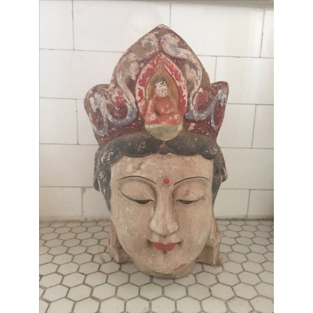 Quan Yin Terracotta Hand Painted Head - Image 4 of 8
