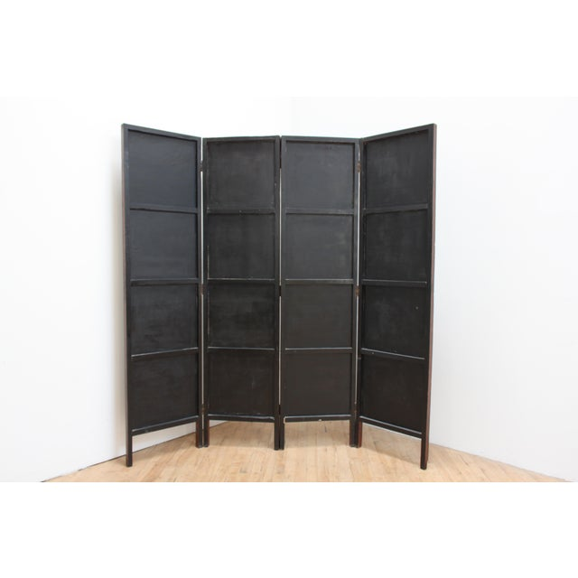 Brown Vintage Trompe l'Oeil Folding Screen- Library Bas Relief Room Divider For Sale - Image 8 of 9