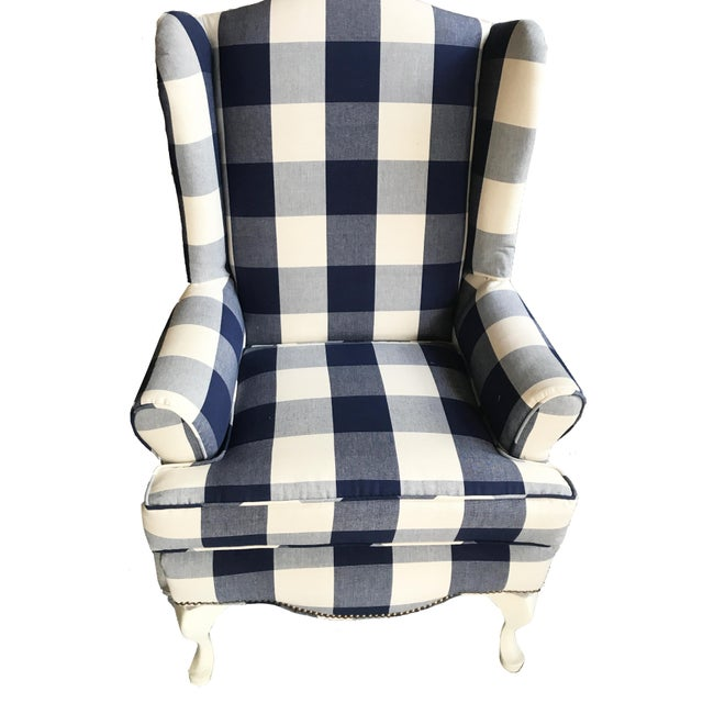 Buffalo Check Wingback Chair - Image 6 of 6