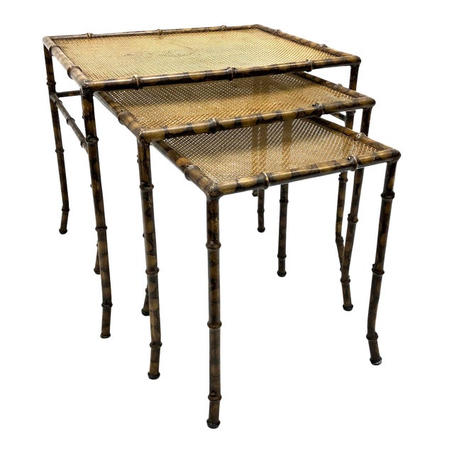 20th Century Chinoiserie Faux Painted Steel Bamboo Nesting Tables - Set of 3 For Sale