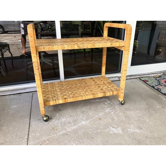 1980s Boho Chic Rattan Bar Cart For Sale - Image 4 of 11