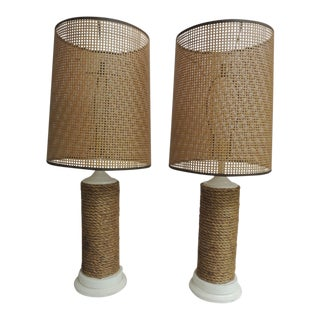 Pair of Vintage Large Nautical Wood Lamps With Rattan Woven Shades For Sale