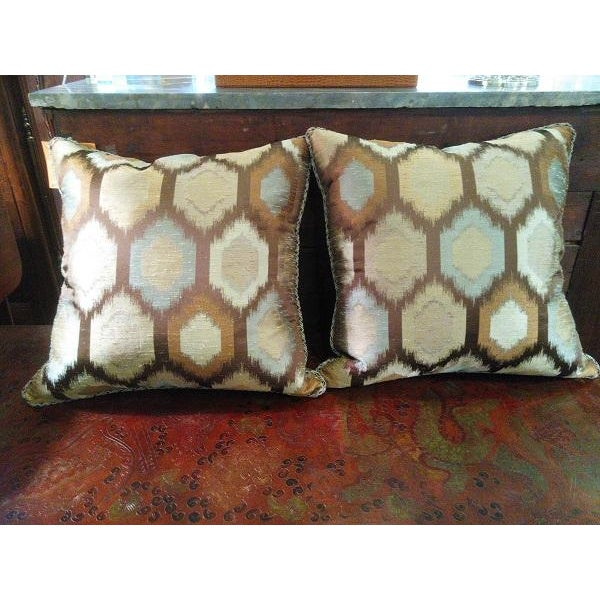 Brown Contemporary Feather Throw Pillows - A Pair - Image 2 of 4