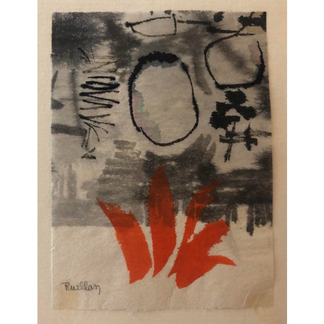Abstract painting by Andrée Ruellan (1905-2006) hinged to a card with note inside from Ruellan and her husband artist Jack...