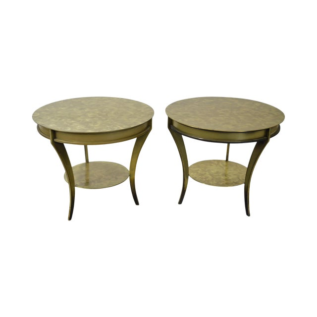 Studio Custom Crafted Pair of Brushed Steel Gold Finish Round Side Tables - Image 1 of 10