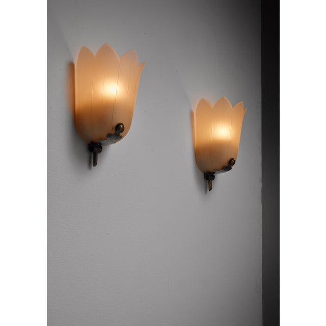 A pair of Swedish Art Deco wall lamps, made of brass and frosted glass in the shape of a flower. The glass has a tiny...