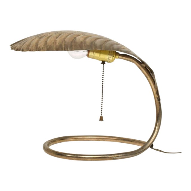 Leaf Shade Brass Table Lamp For Sale