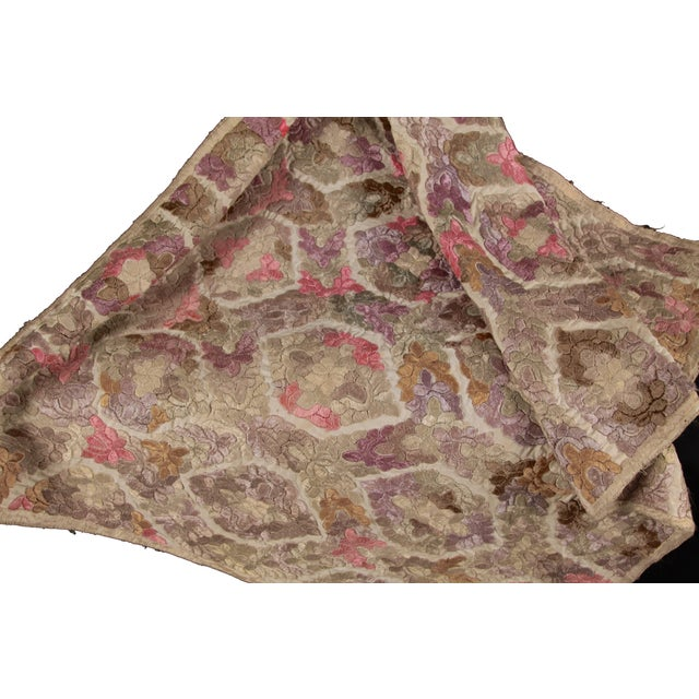 Antique Embroidered Damask Fabric For Sale - Image 5 of 6