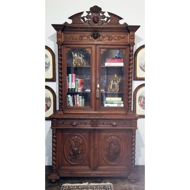 Early 19th Century French Provincial Highly Carved Oak Bookcase For Sale In Dallas - Image 6 of 13