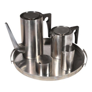 1960's Arne Jacobsen Cylinda Line for Stelton Danish Modern Coffee & Tea Set - 5 Pieces For Sale