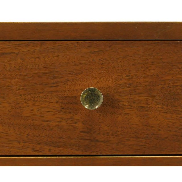 Brown Walnut & Lacquered Linen Front Nine-Drawer Cabinet For Sale - Image 8 of 10
