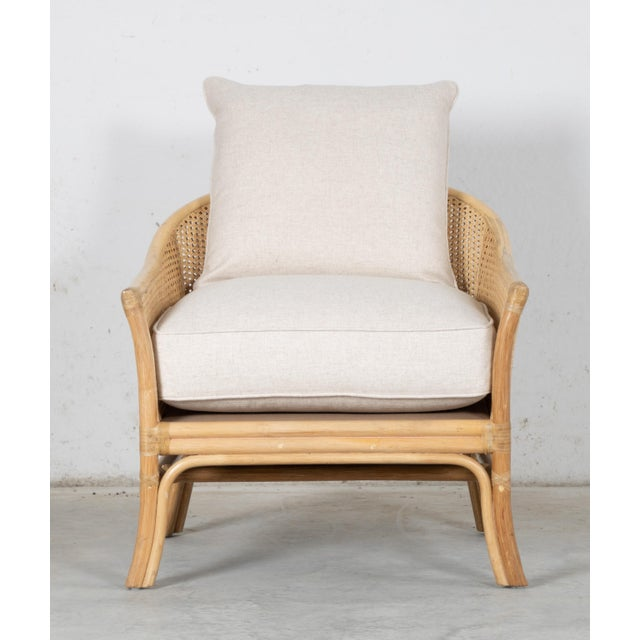Rustic Rustic David Francis Rattan and Cane Calistoga Lounge Chair For Sale - Image 3 of 5