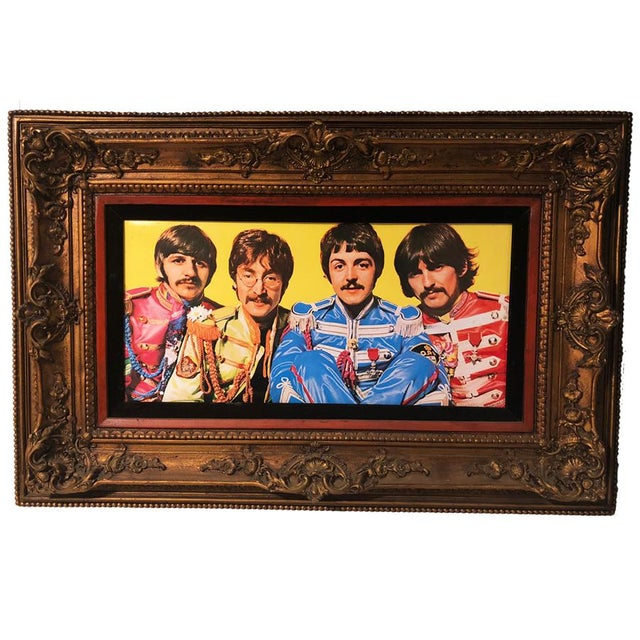 Antique Large Ornate Victorian Mirror W/ the Beatles Sgt Peppers Print For Sale - Image 9 of 9