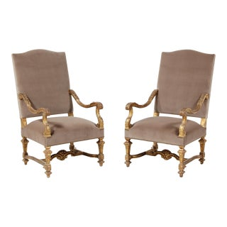 Italian Giltwood and Velvet Armchairs - A Pair For Sale