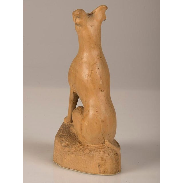 Late 19th Century 19th Century English Hand Made Carved Wood Dog Sculpture For Sale - Image 5 of 6