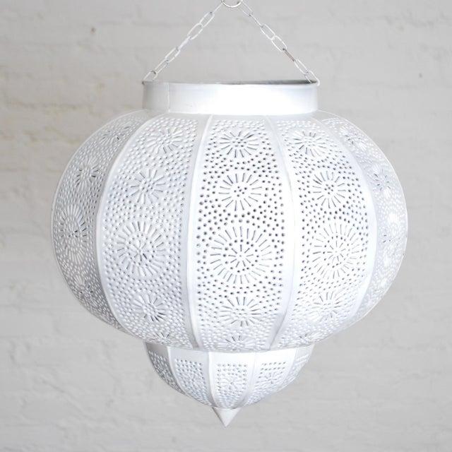 Moroccan White Painted Metal Hanging Lamp - Image 2 of 3
