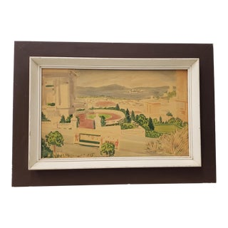 "Vintage San Francisco Watercolor ""View From Pacific Heights"" C.1940s For Sale"