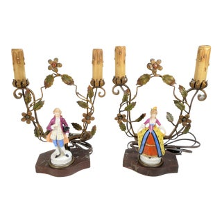Antique Boudoir Tole Lamps - A Pair For Sale