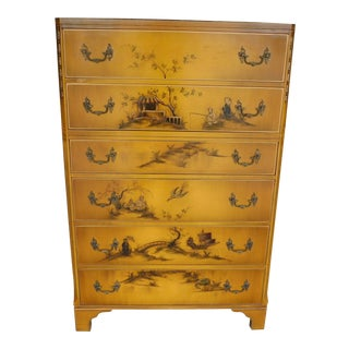 "Union National Jamestown Lacquer Chinoiserie Decorated Tall Chest 50""h For Sale"