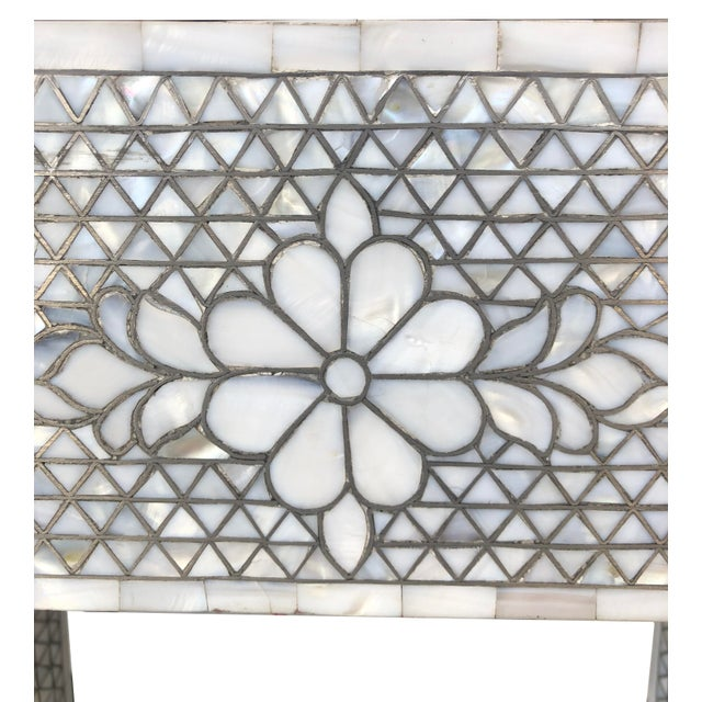 2010s Mother of Pearl Inlay Contemporary Side Table For Sale - Image 5 of 8