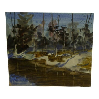 """Original """"By the Lakeside"""" Painting on Paper"""