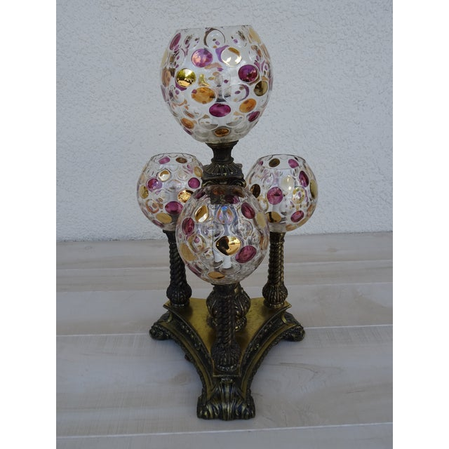 Vintage L&l Wmc Pink and Gold Four Glass Globe Lamp Mid-Century Modern For Sale - Image 10 of 11