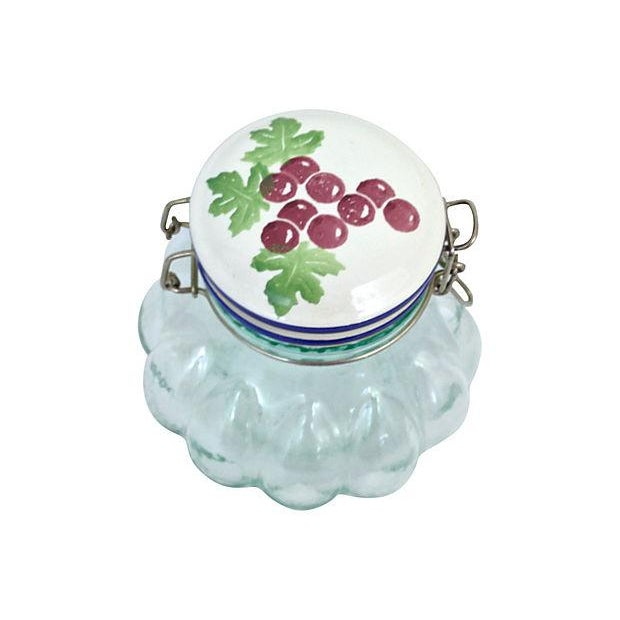 Italian Italian Quilted Glass Canister For Sale - Image 3 of 7