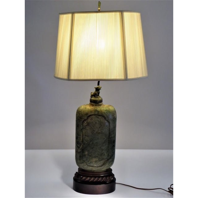 Asian Large Carved Asian Soapstone Vessel Table Lamp 1940s For Sale - Image 3 of 11