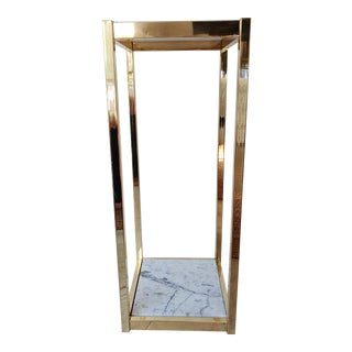 1980s Brass and White Marble Pedestal For Sale