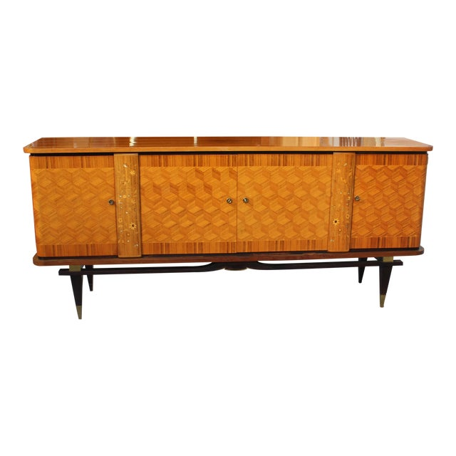 French Art Deco Light Exotic Macassar Ebony Sideboard / Buffet By Jules Leleu Style, with mother-of-pearl Circa 1940s - Image 11 of 11