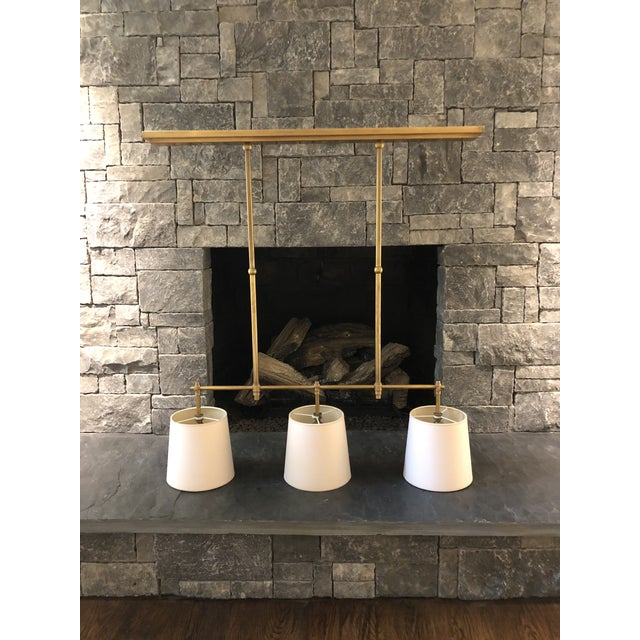 Visual Comfort Thomas O'Brien Bryant Linear Suspension Brass Chandelier For Sale - Image 11 of 11