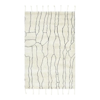 Sylvia, Bohemian Moroccan Hand Knotted Area Rug, Ivory, 5 X 8 For Sale