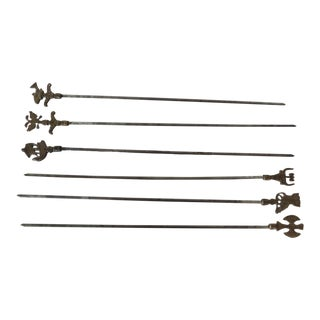 Brass Set of 6 Grilling Skewers For Sale