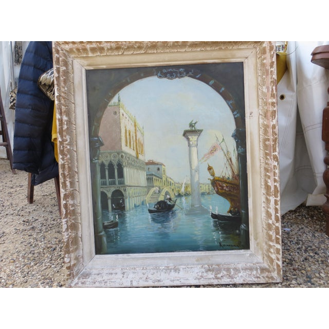 "1930s Venice ""Aqua Alta"" Oil Painting For Sale In Los Angeles - Image 6 of 7"