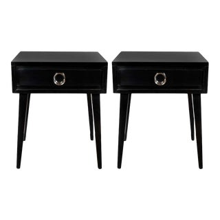 Mid-Century Modern End Table Nightstands with Circular Nickeled Pulls - a Pair For Sale