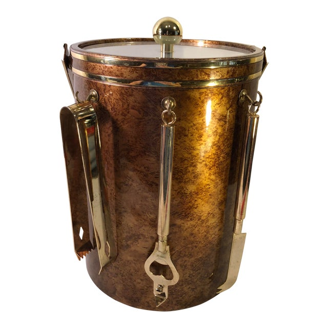 Vintage Marble Pattern With Gold Accent Ice Bucket & Bar Tools ManCave MadMen Style Decor For Sale