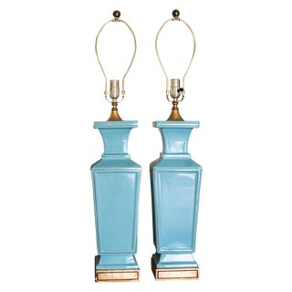 Mid-Century Blue Ceramic Table Lamps - A Pair