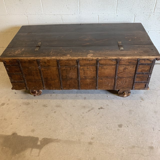 Jodang Strapped Metal Wedding Chest Trunk For Sale - Image 11 of 13