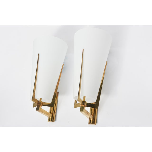 Modern Set of Four Large Stilnovo Brass and Frosted Glass Wall Lights, Italy For Sale - Image 3 of 9